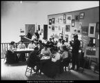 Image of Art class and display in old Education Building in 1904