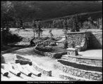 [Rustic stone stage at Aspen Grove, 1929]