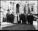 Image of Photograph of members of the Board of Trustees and university officials at commencement
