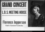 [Poster advertising one of Florence Jepperson Madsen's appearances in Utah, ca. 1920]