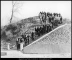 Image of Photograph of students on the stairway up the hill to the Maeser Building