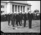 Image of Photograph of the groundbreaking ceremony for the Heber J. Grant Library
