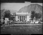 Image of Photograph of the Semi-Centennial parade finale at the Maeser Building
