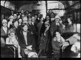 """Photograph of a student excursion on the """"Orem"""" interurban train to Salt Lake City"""