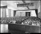 Photograph of a Leadership Week assembly in the Joseph Smith Auditorium