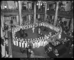 Photograph of Brigham Young University band in the lobby of the Hotel Utah
