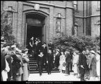 Photograph of procession to commencement exercises in the Provo Tabernacle