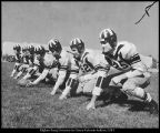 Photograph of Brigham Young University football team offensive line