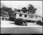 Image of Photograph of temporary building being brought onto campus for use as part of the Speech Center
