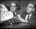 [Two noted BYU zoologists, Dorald M. Allred and D. Elden Beck, observe a specimen from the...