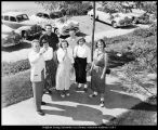 [An upperclassman gives new students a tour of campus, 1953]