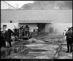 Photograph of fire in a refrigerator room in the University Press and Stores Building