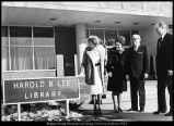 [Sign in front of the Harold B. Lee Library, 1960s]