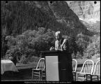 [Speaker at the student body officer orientation at Aspen Grove, 1965]