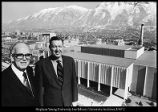 [Dr. Armin J. Hill and assistant dean Dick W. Thurston in front of the new Engineering Sciences...