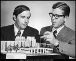 [Rex E. Lee and Bruce C. Hafen examine a model of the J. Reuben Clark Law School Building, 1971]