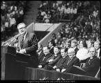 [Nelson A. Rockefeller addresses a capacity crown at the Marriott Center, October 2, 1974]