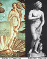 Birth of Venus detail and Medici Venus;