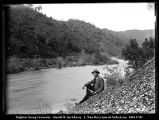 [Moke River Below Power House, Man on Bank]