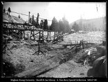 [Gin Poles, Meadow Lake Dam Construction]