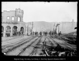 [People by burned buildings from the Park City fire of 1898]