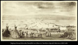 [Native Americans, wagons, and cattle crossing the Platte River]