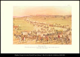 [Mountain Men. Rocky Mountain furtraders' train leaving St. Louis (1830) to open the first wagon...
