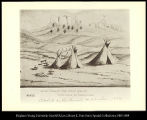 Sioux Village (Red Cloud Agency) Crow Butte in background. Sketch by Lieutenant W. H. Carter...