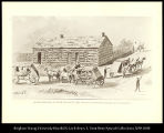 Stage Station at Fort Kearney, 1863.  Coaches from Atchison, Omaha, and Nebraska City.  Bolinart  ...
