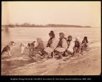 Group of Goldes women and children on dog sled.  #1136