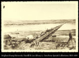 Platte Bridge at Fort Casper as I saw it Aug 18, 1866.  From my painting in the museum of the...