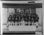 School Band Teacher Clarence Murdock. L to R,front row: Thero Tippets, Edgar Hansen, Jack...