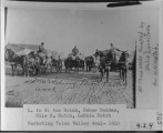 Market wool in Teton Valley, 1910. L to R: Asa Hatch, Heber Beddes, Hile H. Hatch, Lamoin Hatch....