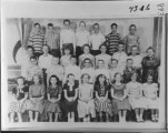School class, Driggs Elementary, 1956, 5th grade. First row: Carolyn Ellis, Vema Josephson, Julia...