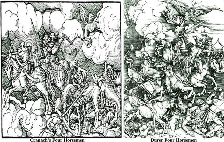 Cranach's Four Horsemen vs  Durer Four Horsemen