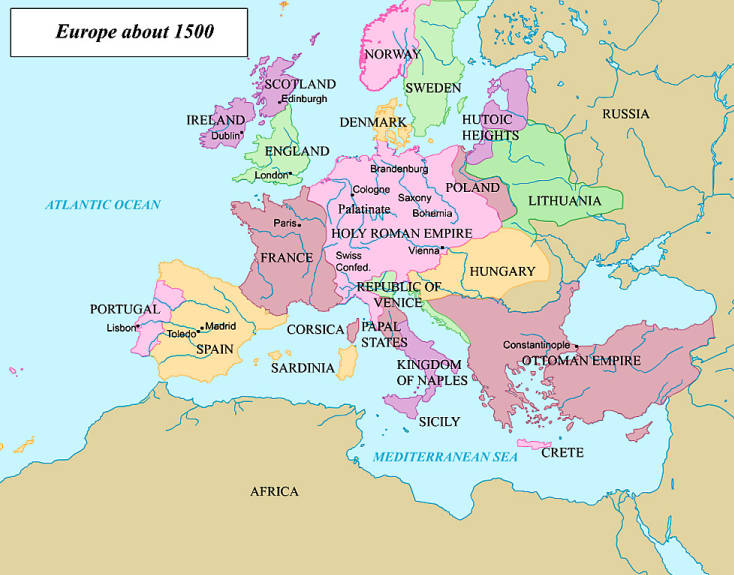 Image result for europe map 1500