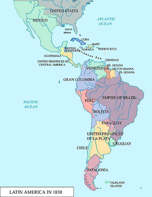 Map of Latin America in 1830;   Civilization   Digital Collections