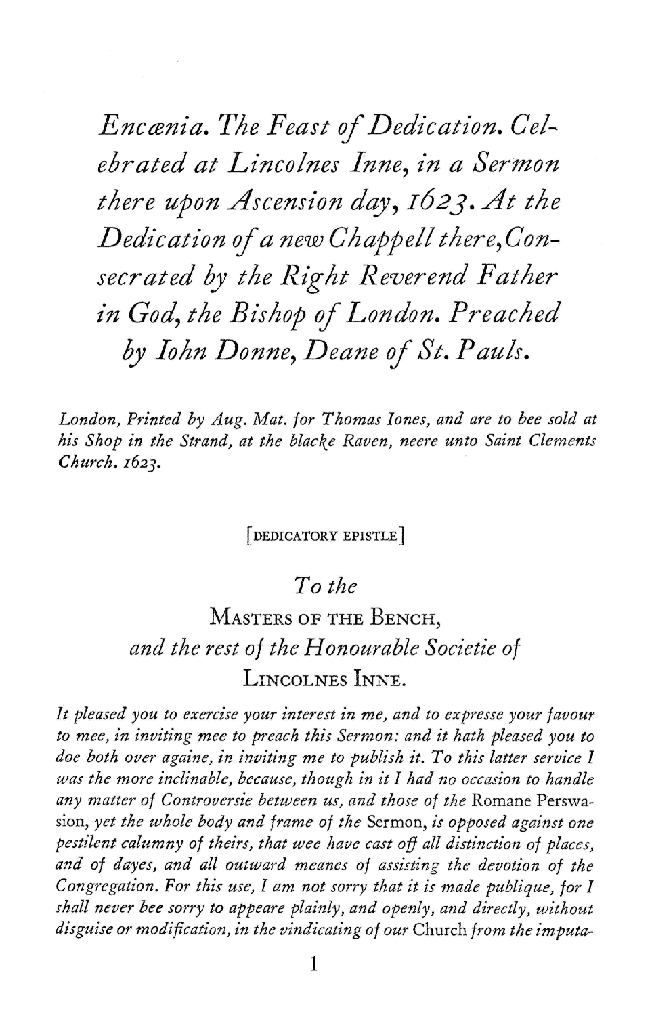 Encaenia  The Feast of Dedication  Celebrated at Lincoln's Inn, in a